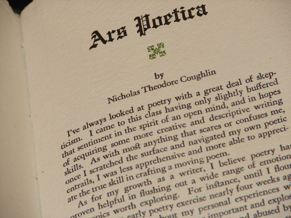 Ars Poetica by Nicholas Coughlin