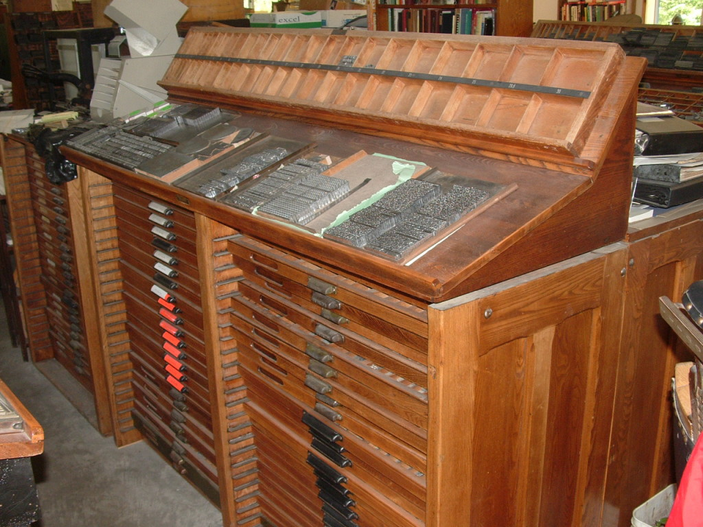 Letterpress handset type cabinet and cases