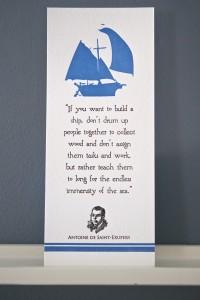 Antoine De Saint-Exupery's letterpress broadside