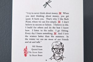 Bill Roman quote in Life Up North letterpress broadside