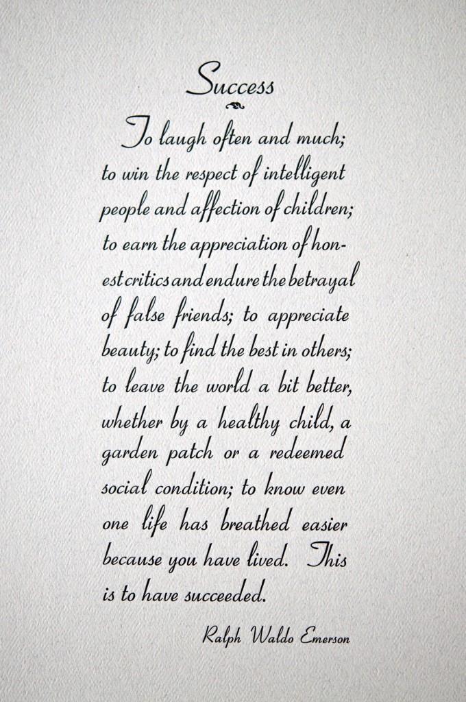 Ralph Waldo Emerson letterpress broadside