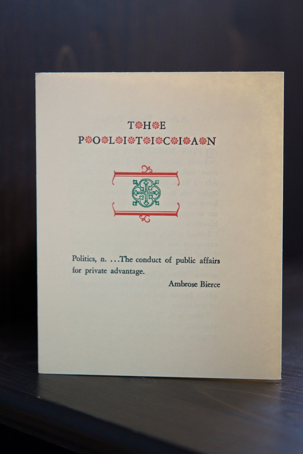The Politician pamphlet