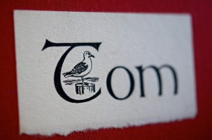 Photo of cover art for Tom letterpress printed book