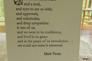 Photo of Mark Twain's tribute to home