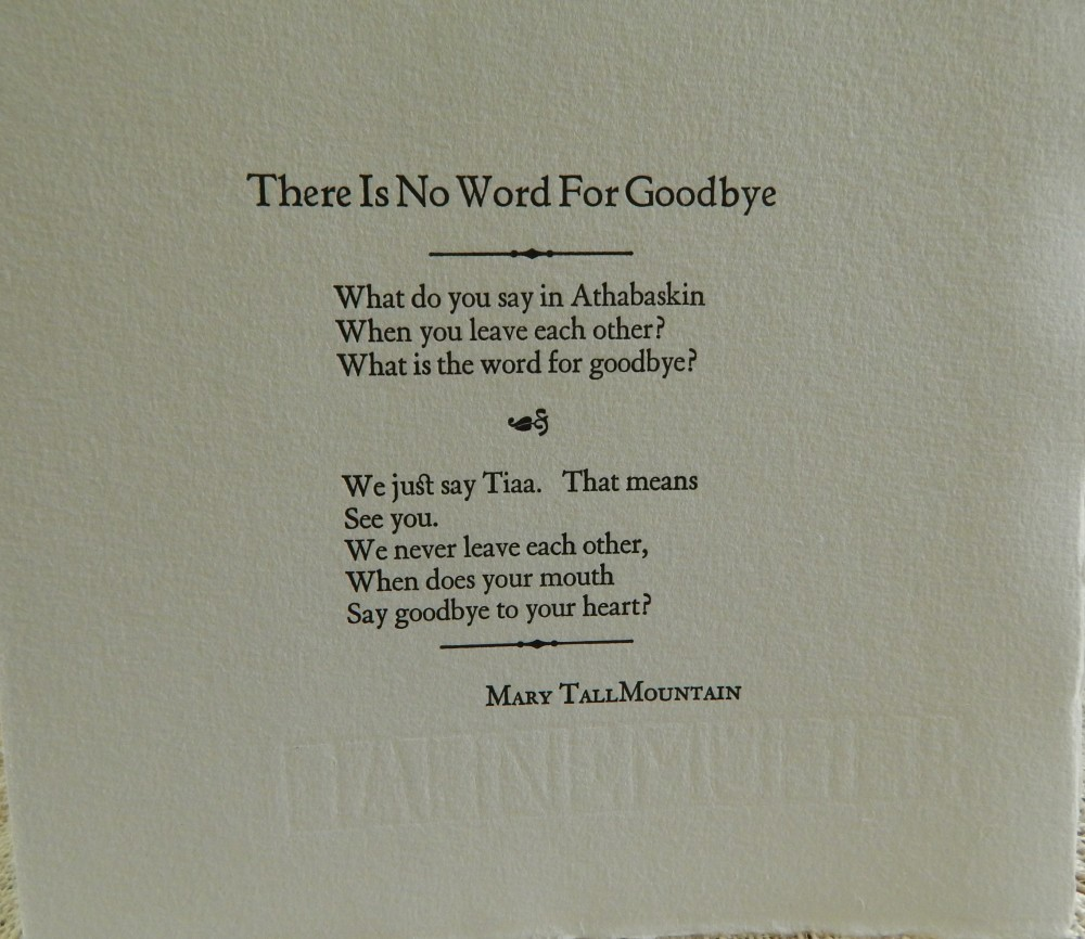 A letterpress-printed broadside written by Mary TallMountain