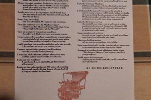 I Am The Linotype broadside
