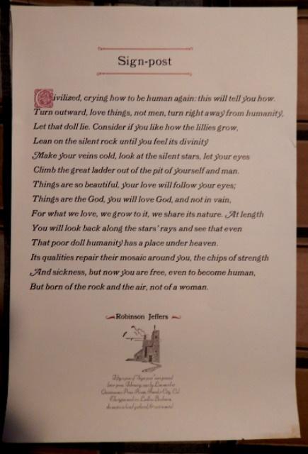 Robinson Jeffers's Sign-post broadside