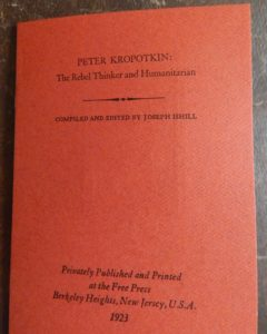 Limited-edition pamphlet about Joseph Ishill's book on Peter Kropotkin